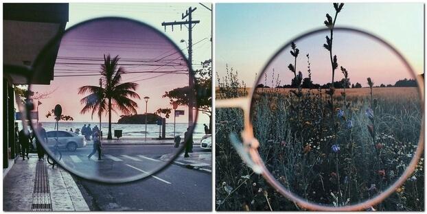 Съемка через очки