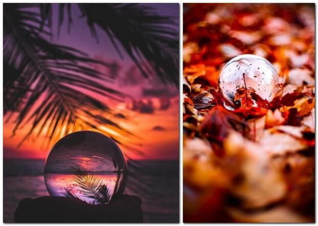 Стеклянный шарик на фотографиях